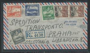 ANTIGUA (P0912B) 1946 KGVI 1/2D+2D+2 1/2D+3D+1/-X2 REG A/M TO CZECHOSLOVAKIA