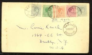 BAHAMAS 1952 KGVI 5 Stamp Franking NASSAU to Brooklyn NY USA