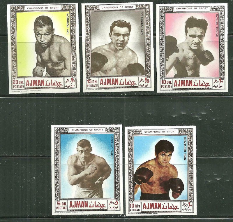 Ajman MNH Set Boxing Champions Imperf. 1969
