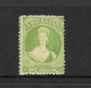 NEW ZEALAND 1864-71 1/- YELLOW GREEN   FFQ  MLH  P12 1/2  CP A6M4  SG 125 CHALON