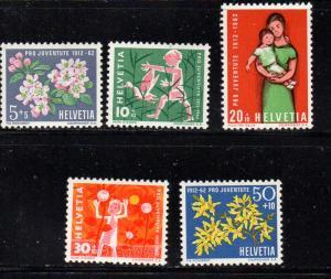 Switzerland Sc B318-22 1962 Pro Juvente stamp set mint NH