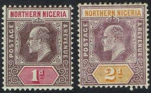 NORTHERN NIGERIA 1905 KEVII 1D AND 2D WMK MULTI CROWN CA