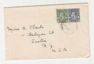 TURKS & CAICOS, c1930 cover, KGV 1/2d. & 2d. TURKS ISLANDS to USA.