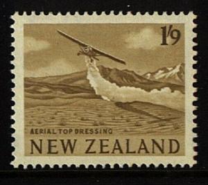 NEW ZEALAND 1960 1/9d Sepia - Crop spraying - fresh MNH....................23031