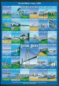 Denmark. Poster Stamp 1998. Unfolded Sheet. Danish Bridges. Nyborg Tennis Club.