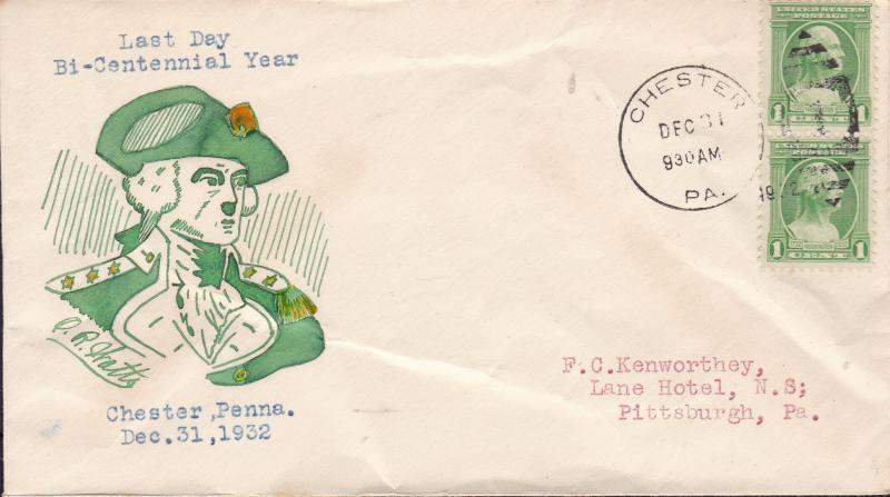 United States 1931 Hand Drawn Cachet on Cover Last Day Washington Bicentennial