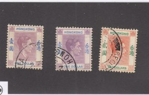 HONG KONG # 163,163a,164  VF-USED  $1,2  3 KGVI CORONATION ISSUES CAT VALUE  $39