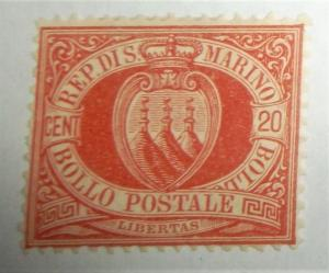 1877 San Marino Scott #11 Coat Of Arms MH Free US Shipping HI CV