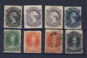 8x Nova Scotia Stamps #8-2x9-10-11-12-12-13 Guide Value = $125.00