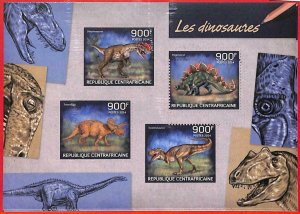 A3920 - Central African Rep - ERROR MISPERF, Miniature sheet: 2014, Dinosaurs