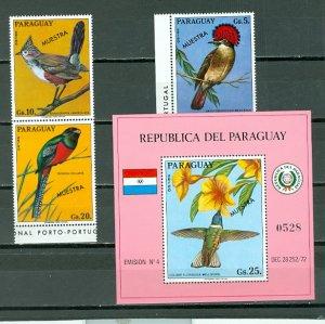 PARAGUAY BIRDS 1973...OVPT MUESTRA...SET & SOUV. SHEET...MNH...