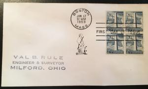 1034 Bunker Hill, First Day Cover with block, Vic's Stamp Stash