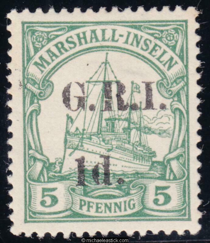 1914 New Guinea 1d on 5pf Green,overprinted 'G.R.I.', SG 51, MH