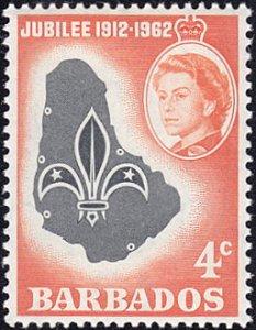 Barbados # 254 mnh ~ 4¢ Scout Emblem on Map of Barbados