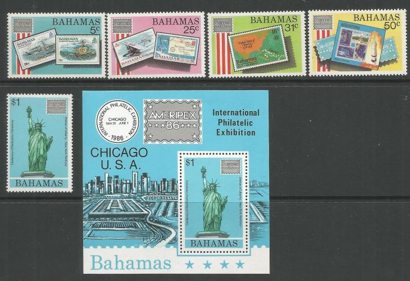 BAHAMAS 597-601a, MNH, C/SET OF 5 STAMPS + SOUVENIR SHEET, AMERIPEX '86