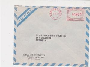 Argentina Santander Bank 1968 Machine Cancel Airmail Stamps Cover R17609