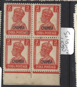 INDIA  CHAMBA  P1306B)  KGVI 2A  SG 113  BL OF 4      MNH