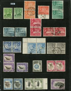 Aden Stamps, 1953-63, Partial Set SG48/72 +SG53a Used Incl pairs Cat App/£50 G/