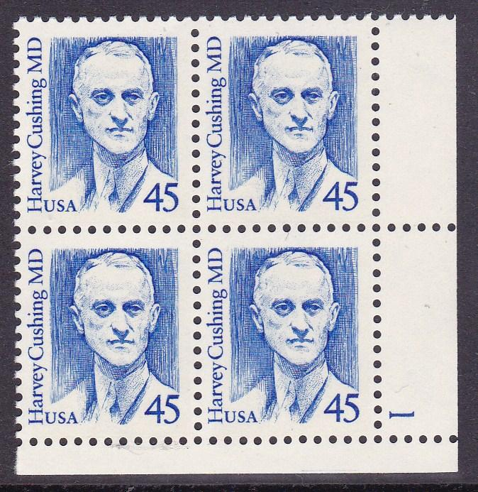 United States1986 Great Americans 45c Harvey Cushing MD Plate Number Block VF/NH
