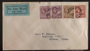 1929 St Johns Antigua Leeward Islands airmail cover FFC to Spanish Antilles
