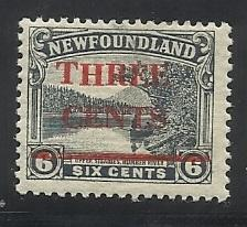 Newfoundland SC 160 3c Ovpt MH F/VF See Scan for Cancel, Centering, Perfs