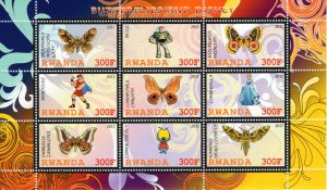 Rwanda 2011 Butterflies and Disney Sheetlet of 9 values perforated MNH
