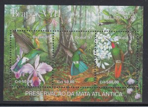 Brazil Sc 2338 MNH 1991 Brapex VIII Souvenir Sheet, Jungle Birds, Flowers, VF