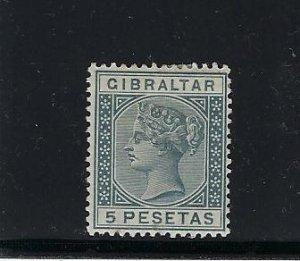 GIBRALTAR SCOTT #38 1889- 5 PESETAS (STEEL BLUE)  -WMK 2 - MINT HINGED