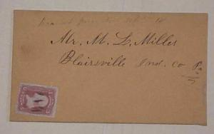 US COVER #94  DPO BRANCH JUNCTION PA CIRCA 1868