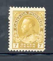 Canada Sc 113 1912 7c yellow G V Admiral stamp mint