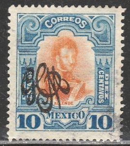 MEXICO 489 10¢ CARRANZA MONOGRAM REVOLUT OVPERPRINT USED F-VF. (907)