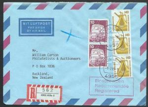 GERMANY 1989 Registered airmail cover to New Zealand - nice franking.......11270