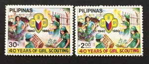 Philippines 1980 #1465-6, Girl Scouts, MNH.