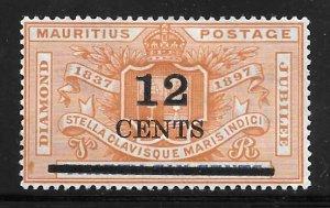 Mauritius 127: 12c on 36c Diamond Jubilee surcharge, MHR, F