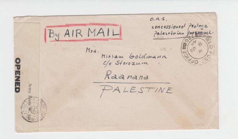 PALESTINE 1945 JEWISH INFANTRY BRIGADE IN ITALY CENSOR COVER, FPO726 O.A.S.