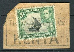 BRITISH KUT KENYA; 1938 early GVI issue 5c. used fine POSTMARK PIECE