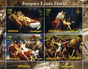 Somalia 2003 JACQUES LOUIS DAVID Nudes Paintings Sheet (4) Perforated Mint (NH)