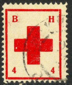 AUSTRIA BOSNIA AND HERZEGOVINA 1914 4h RED CROSS Charity Label VFU