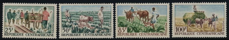 Central Africa 41-4 MNH Agriculture, Oxen, Wagon