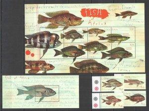 D0892 LIBERIA FAUNA MARINE LIFE FISH OF AFRICA !!! 1KB+1BL+1SET MNH