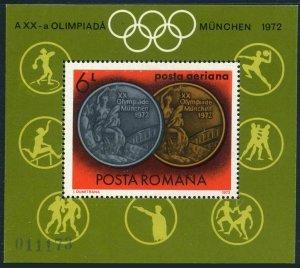 Romania C191,MNH.Michel 3066 Bl.100. Olympics Munich-1972.Romanian medalists.