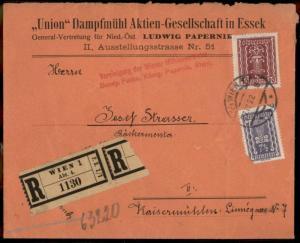 Austria 1924 Inflation Steam Mill Wien Vienna Registered Cover 81499