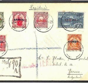 MS2930 1916 SAMOA New Zealand Overprints Registered Apia Cover Switzerland Bern