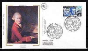 Andorra, Fr, Scott cat. 409. Composer Mozart issue. Silk Cachet First day cover.