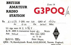 7041 Amateur Radio QSL Card  HAILSMAM ENGLAND