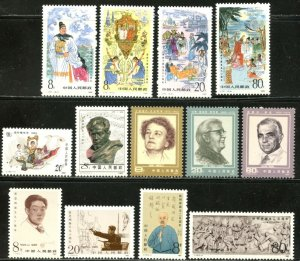 CHINA PRC Sc#1982, 1988-2002 1985 Seven Complete Sets OG Mint NH