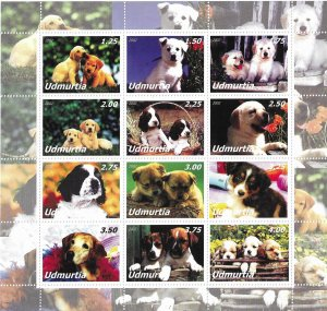 Udmurtia MNH S/S Lovable Puppies 12 Stamps