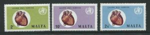 MALTA SG464/6 1972 WORLD HEALTH DAY MNH