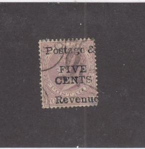 CEYLON  (MK987) # 117 VF-USED  POSSIBLE FAKE 5c QUEEN VICTORIA O/PRINT REVENUE