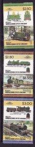 St Vincent Grenadines-Bequia-Sc#28-34- id5-unused NH Trains-Locomotives-1984-7-